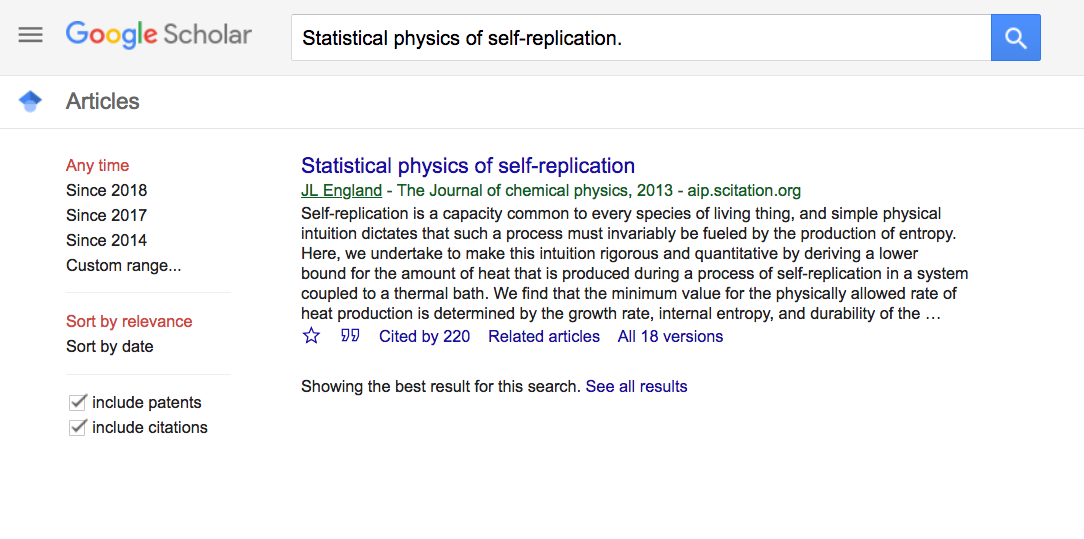 Google Scholar: Statistical physics of self-replication